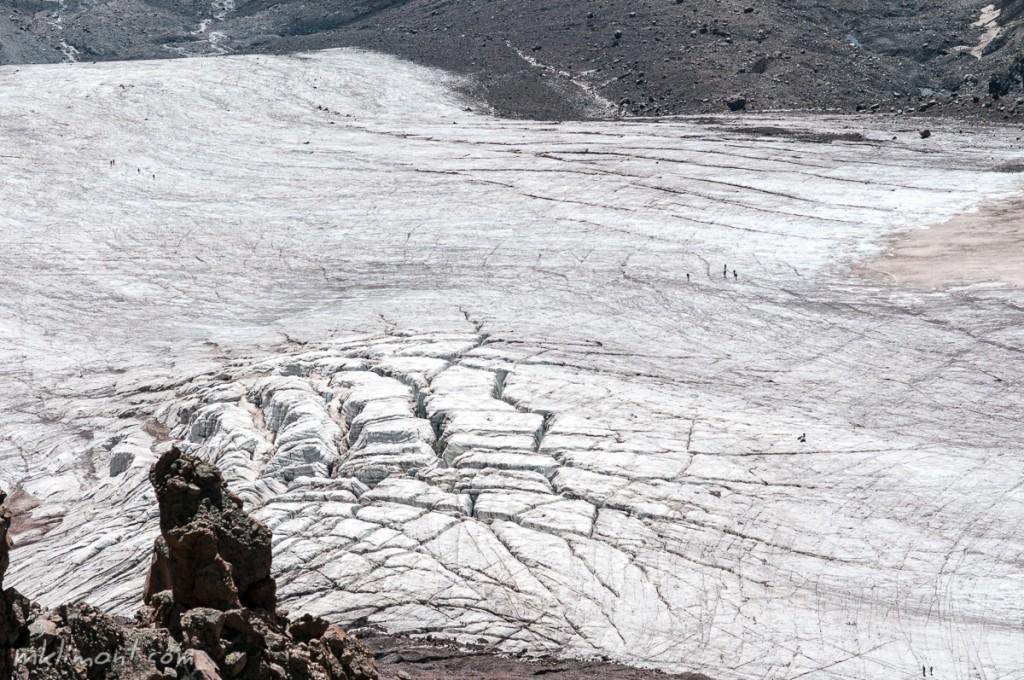 Szczeliny w lodowcu, ludzie dla skali